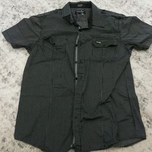 Eighty eight black and gray striped button up